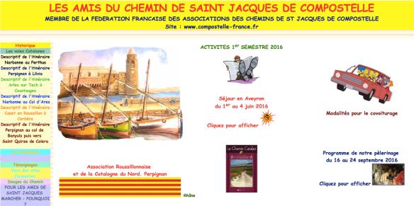 Capture d'écran de l'association des Amis du Chemin de Saint-Jacques de Compostelle Roussillon Perpignan