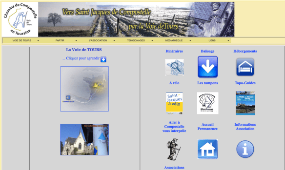 Capture d'écran du site internet de l'association Association Chemins de Compostelle en Touraine Voie de Tours