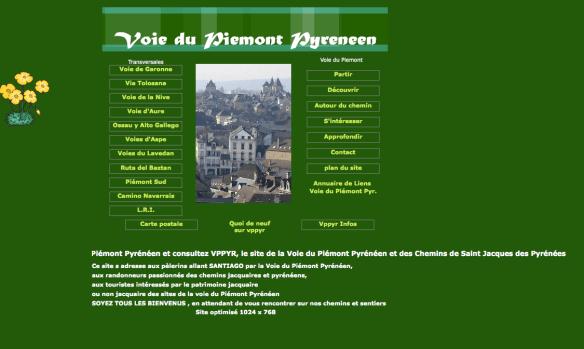 Capture d'écran du site internet de la Voie du Piémont-Pyrénéen (site d'un passionné, extrêmement complet)