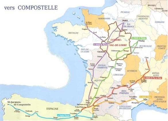 Carte des chemins traversant la région Centre-Val-de-Loire. Source : site internet du portail des associations la constituant.