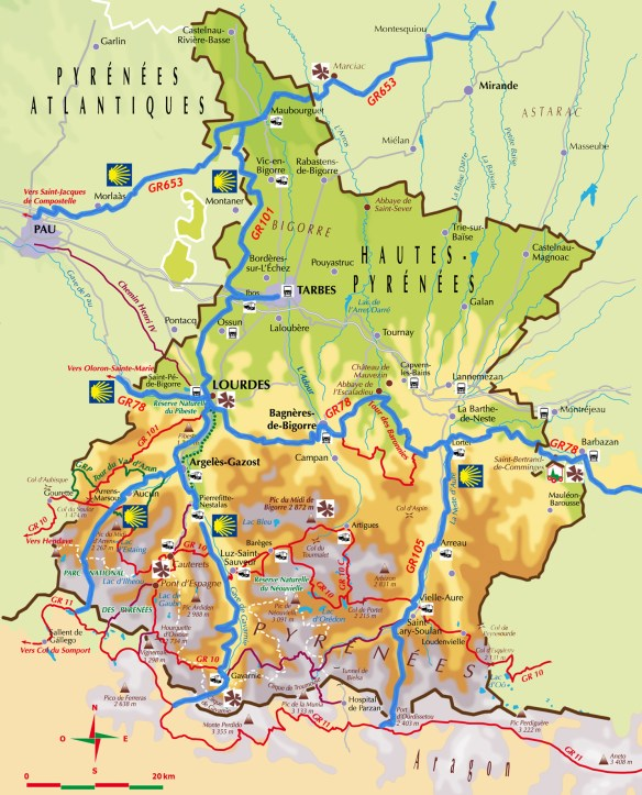 Carte des chemins jacquaires dans les Hautes-Pyrénées. Source : site de l'association des Amis de Saint Jacques en Hautes-Pyrénées