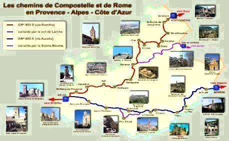 Carte des chemins de Compostelle et de la Via Francigena en PACA. Source : site internet de l'association PACA-Corse des amis des chemins de Saint Jacques de Compostelle et de Rome