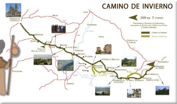 La carte du Camino del Invierno