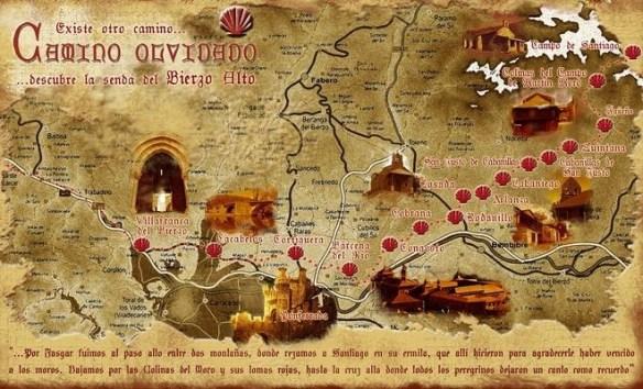 La carte du Camino Olvidado ou Camino de la Montaña