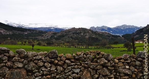 Au loin, les premières cimes enneigées, avant d'arriver à Mataelpino. © Fabienne Bodan