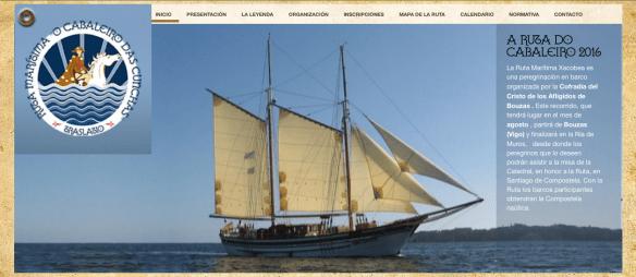 "Capture d'écran du site internet de la ""Ruta maritime O Cabaleiro das Cunchas"