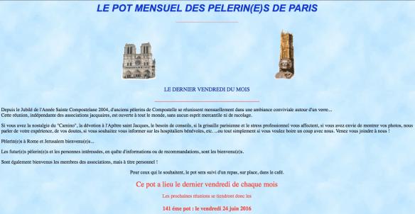 Capture d'écran du site de Ferdinand Soler, créateur et animateur du Pot des Pèlerins