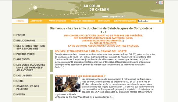 """Capture d'écran du site internet """"Au coeur du Chemin"""" de l'association jacquaire des Pyrénées-Atlantiques (64)"""
