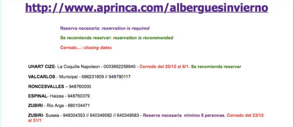 Capture d'écran du site http://www.aprinca.com/alberguesinvierno/