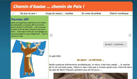 Capture d'écran du site de Claire et André Genot sur leur chemin d'Assise