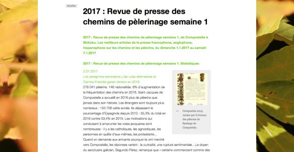 Revue de presse chemins de pèlerinage 2017