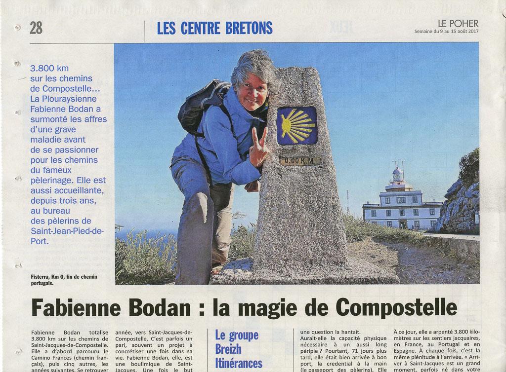 Fabienne Bodan, la Magie de Compostelle, dans Le Poher 08.2017