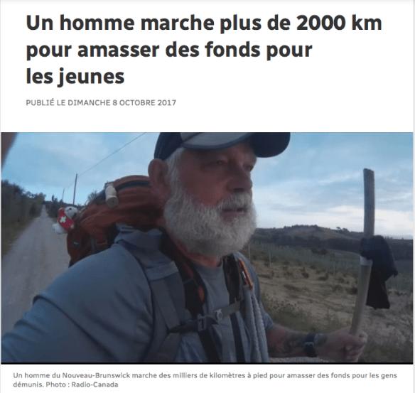 Le Canadien Charles Collin marche 2000km pour les jeunes en difficulté