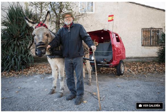 Manuel Villellas et son âne Mariano vers Compostelle