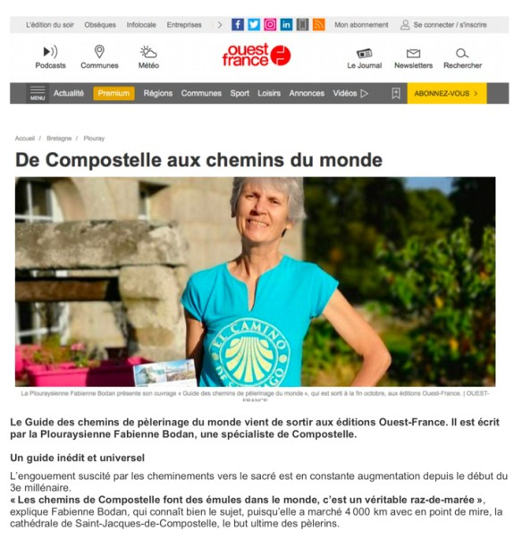 Article Ouest-France 26.12.2018 Guide des chemins de pèlerinage du monde Fabienne Bodan