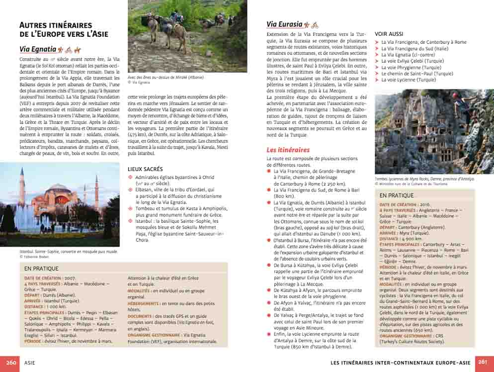 Guide chemins de pèlerinage du monde (exemple page Europe - Asie)
