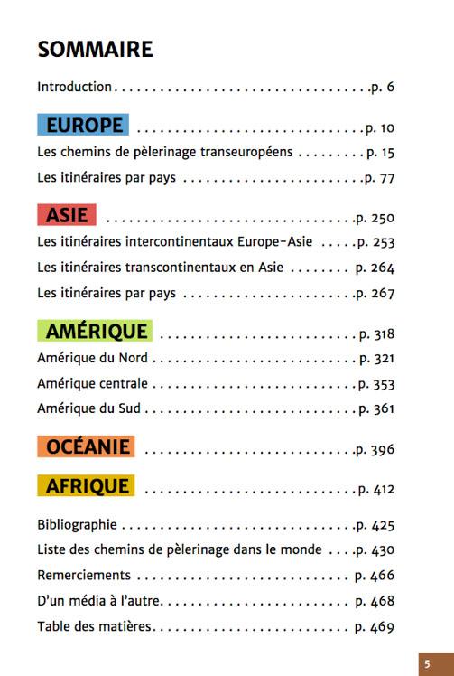 Guide chemins de pèlerinage du monde de Fabienne Bodan (Sommaire)