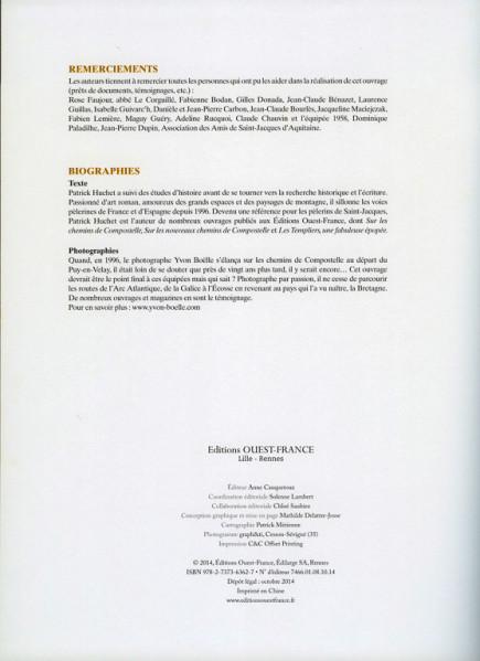 """""""Compostelle, le livre des Merveilles"""", page 156. Remerciements et Biographies."""