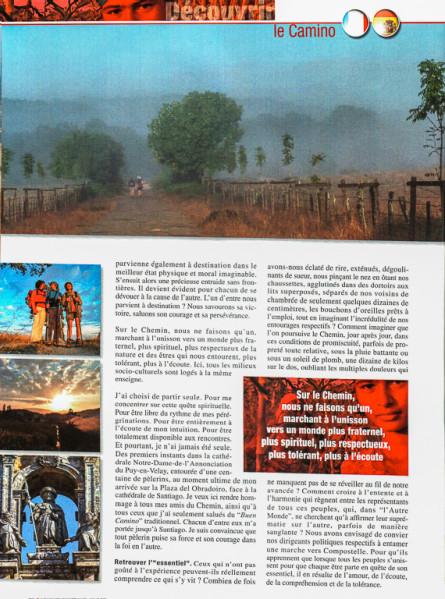 """Article """"La magie des chemins (de Compostelle)"""" rédigé pour le N°148 de Globe-Trotters Magazine (page 3/4 de l'article)."""