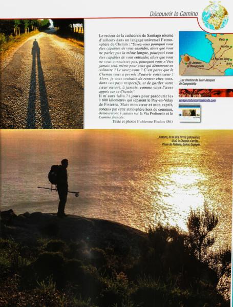 """Article """"La magie des chemins (de Compostelle)"""" rédigé pour le N°148 de Globe-Trotters Magazine (page 4/4 de l'article)."""