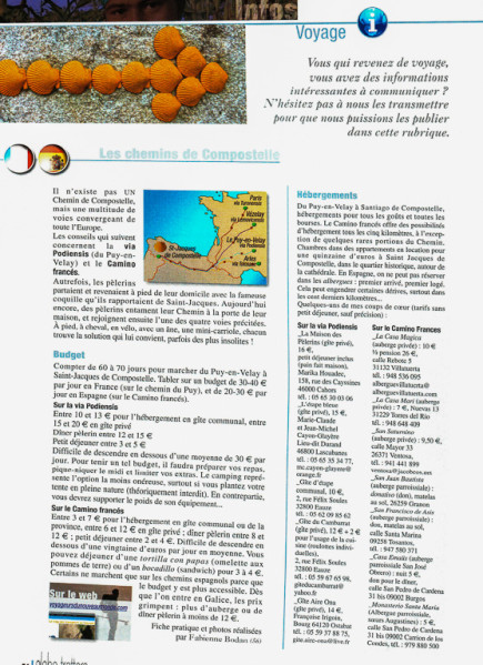 """Article """"Infos pratiques sur les chemins de Compostelle"""" rédigé pour le N°148 de Globe-Trotters Magazine (page 1/2 de l'article)."""
