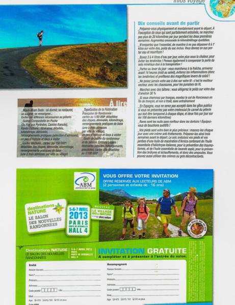 """Article """"Infos pratiques sur les chemins de Compostelle"""" rédigé pour le N°148 de Globe-Trotters Magazine (page 2/2 de l'article)."""