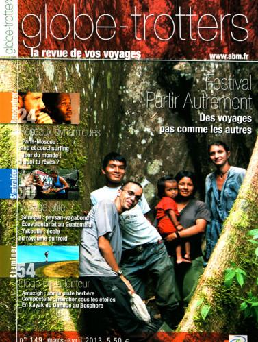 Couverture du N°148 de Globe-Trotters Magazine, édité par l'association ABM (Aventures du Bout du Monde). Ce numéro contient 6 pages de ma plume sur mes pérégrinations de 2012 sur la Via Podiensis et la Camino francés.