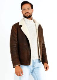 chaqueta de piel marron hombre