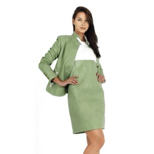 Chaqueta de piel verde mujer cuello mao