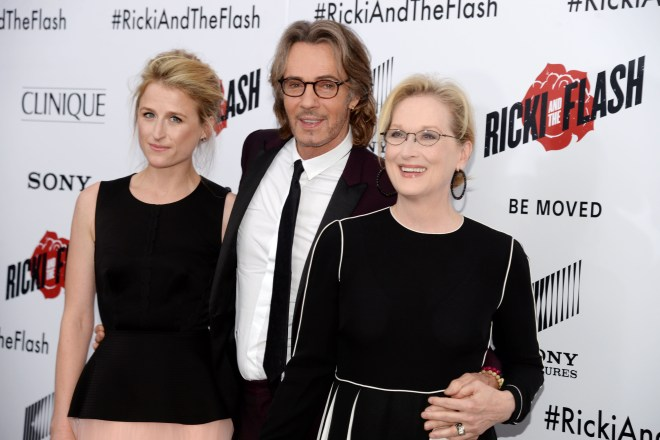 """Mamie Gummer, Rick Springfield, Meryl Streep== TriStar Pictures with Clinique host the premiere of """"Ricki and the Flash""""== AMC Loews Lincoln Square, NYC== August 3, 2015== ©Patrick McMullan== Photo - Clint Spaulding/PatrickMcMullan.com== =="""