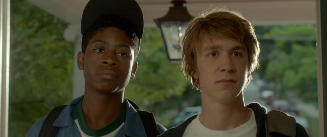 """RJ Cyler as """"Earl"""" and Thomas Mann as """"Greg"""" in ME AND EARL AND THE DYING GIRL. Photo coutesy of Fox Searchlight Pictures. © 2015 Twentieth Century Fox Film Corporation All Rights Reserved"""