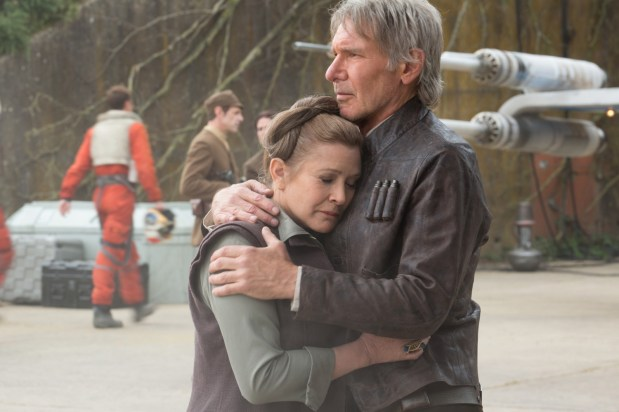 Star Wars: The Force Awakens..L to R: Leia (Carrie Fisher) & Han Solo (Harrison Ford)..Ph: David James..? 2015 Lucasfilm Ltd. & TM. All Right Reserved.