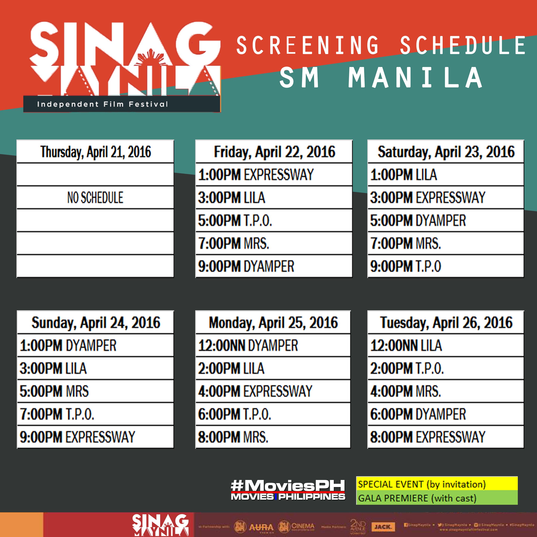 Sinag Maynila Schedule SM Manila