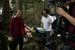Left to right: Simon Pegg and Director Justin Lin on the set of Star Trek Beyond from Paramount Pictures, Skydance, Bad Robot, Sneaky Shark and Perfect Storm Entertainment