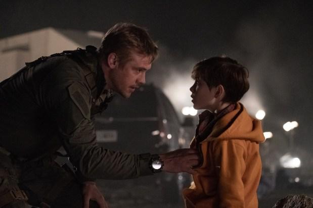 "Boyd Holbrook, left, and Jacob Tremblay star in Twentieth Century Fox's ""The Predator."""