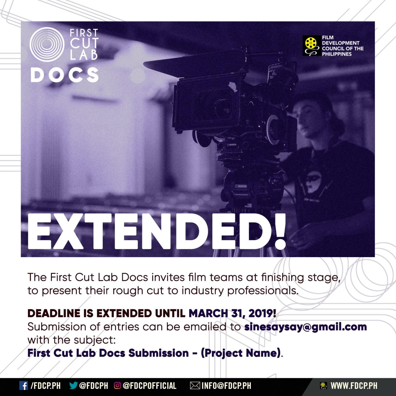 First Cut Lab Docs Deadline Extension