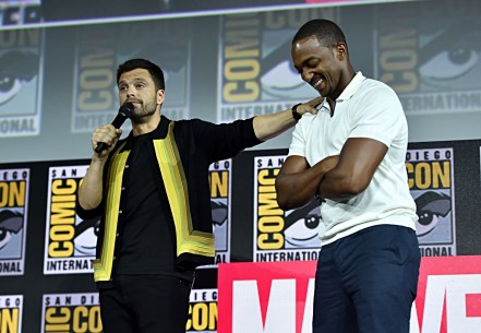SAN DIEGO, CALIFORNIA - JULY 20: Sebastian Stan and Anthony Mackie of Marvel Studios' 'The Falcon and The Winter Soldier' at the San Diego Comic-Con International 2019 Marvel Studios Panel in Hall H on July 20, 2019 in San Diego, California. (Photo by Alberto E. Rodriguez/Getty Images for Disney)