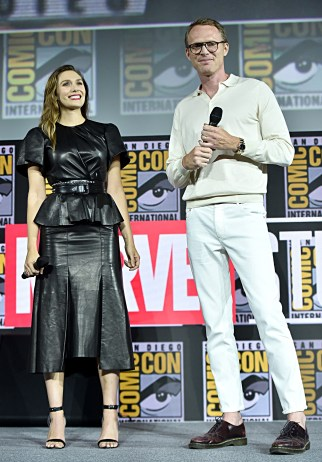 SAN DIEGO, CALIFORNIA - JULY 20: Elizabeth Olsen and Paul Bettany of Marvel Studios' 'WandaVision' at the San Diego Comic-Con International 2019 Marvel Studios Panel in Hall H on July 20, 2019 in San Diego, California. (Photo by Alberto E. Rodriguez/Getty Images for Disney)