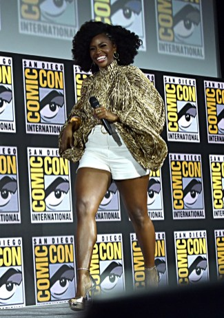 SAN DIEGO, CALIFORNIA - JULY 20: Teyonah Parris of Marvel Studios' 'WandaVision' at the San Diego Comic-Con International 2019 Marvel Studios Panel in Hall H on July 20, 2019 in San Diego, California. (Photo by Alberto E. Rodriguez/Getty Images for Disney)