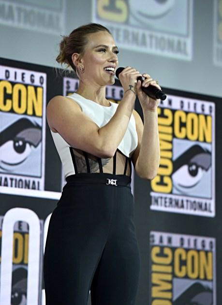 SAN DIEGO, CALIFORNIA - JULY 20: Scarlett Johansson of Marvel Studios' 'Black Widow' at the San Diego Comic-Con International 2019 Marvel Studios Panel in Hall H on July 20, 2019 in San Diego, California. (Photo by Alberto E. Rodriguez/Getty Images for Disney)