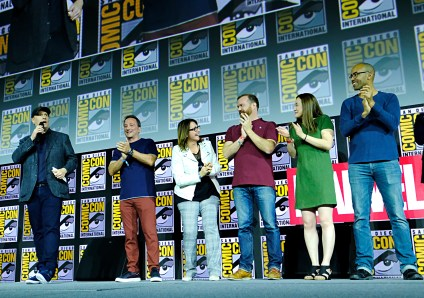 SAN DIEGO, CALIFORNIA - JULY 20: President of Marvel Studios Kevin Feige, Co-President of Marvel Studios Louis D'Esposito, Head of Physical Production at Marvel Studios Victoria Alonso, Stephen Broussard, Trinh Tran and Nate Moore at the San Diego Comic-Con International 2019 Marvel Studios Panel in Hall H on July 20, 2019 in San Diego, California. (Photo by Alberto E. Rodriguez/Getty Images for Disney)