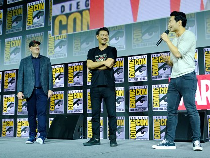 SAN DIEGO, CALIFORNIA - JULY 20: (L-R) President of Marvel Studios Kevin Feige, Director Destin Daniel Cretton and Simu Liu of Marvel Studios' 'Shang-Chi and the Legend of the Ten Rings' at the San Diego Comic-Con International 2019 Marvel Studios Panel in Hall H on July 20, 2019 in San Diego, California. (Photo by Alberto E. Rodriguez/Getty Images for Disney)