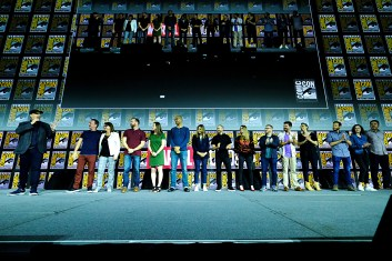 SAN DIEGO, CALIFORNIA - JULY 20: President of Marvel Studios Kevin Feige, Co-President of Marvel Studios Louis D'Esposito, Head of Physical Production at Marvel Studios Victoria Alonso, Stephen Broussard, Trinh Tran, Nate Moore, Sara Smith, Brad Winderbaum, Mary Livanos, Jonathan Schwartz, Eric Carroll, Wendy Jacobson ,Brian Chapek , Zoie Nagelhout and Grant Curtis at the San Diego Comic-Con International 2019 Marvel Studios Panel in Hall H on July 20, 2019 in San Diego, California. (Photo by Alberto E. Rodriguez/Getty Images for Disney)