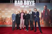 """BERLIN, GERMANY - JANUARY 07: (L-R) Doug Belgrad, Jerry Bruckheimer, Will Smith, Martin Lawrence, Bilall Fallah and Adil El Arbi attend the Berlin premiere of """"Bad Boys For Life"""" at Zoo Palast on January 07, 2020 in Berlin, Germany. (Photo by Sebastian Reuter/Getty Images for Sony Pictures)"""