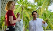 Lucy Hale, Austin Stowell and Michael Peña in Columbia Pictures' BLUMHOUSE'S FANTASY ISLAND.