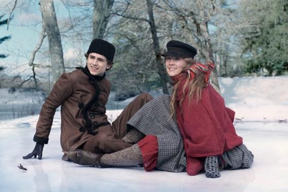 BTS: Laurie (Timothée Chalamet) and Jo March (Saoirse Ronan) on the set of Greta Gerwig's LITTLE WOMEN.