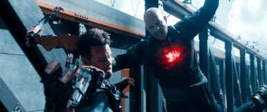 Jimmy Dalton (Sam Heughan) and Bloodshot (Vin Diesel) in Columbia Pictures' BLOODSHOT.