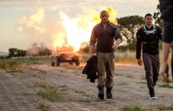 (L-R) Ray Garrison (Vin Diesel) and Tibss (Alex Hernandez) on the airstrip in Columbia Pictures' BLOODSHOT.
