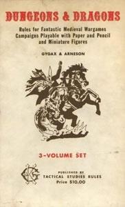 Dungeons & Dragonsin ensimmäinen versio vuodelta 1974. Kuva Wikipediasta.