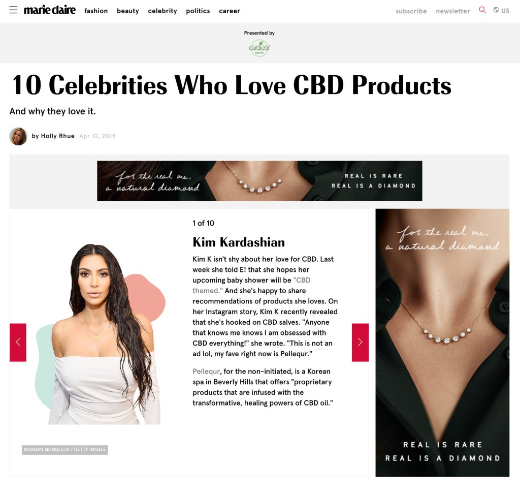 Marie Claire: 10 Celebrities Who Love CBD Products